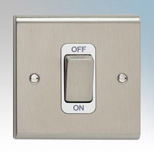 50A DP Switch with Red Rocker - Stainless Steel/White