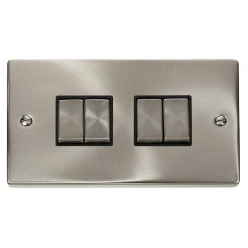 4 Gang 2 Way 'Ingot' 10ax Switch - Black