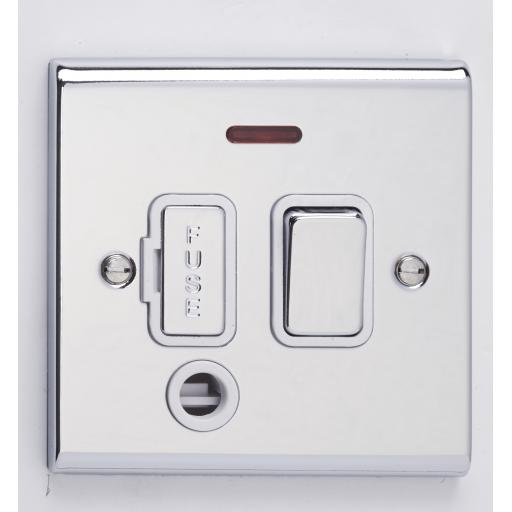 13A DP Switched with Flex Outlet & Neon- Chrome/White
