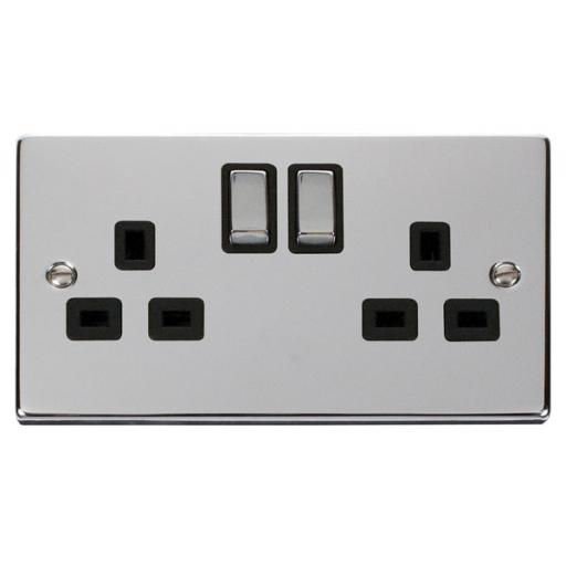 2 Gang 13a Dp 'Ingot' Switched Socket Outlet - Black