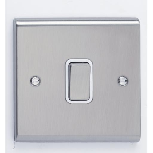 10A 1G 2W Switch- Stainless Steel/White