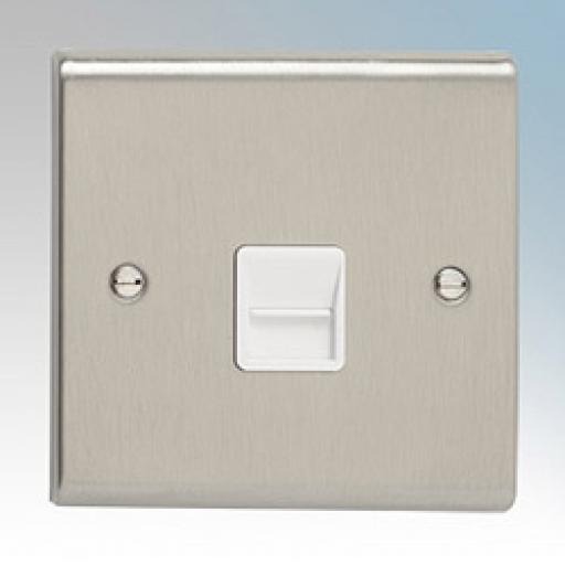Secondary Telephone Outlet- Stainless Steel/White
