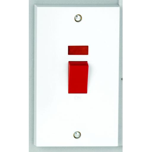 50A DP Tall Switch with Red Rocker & Neon