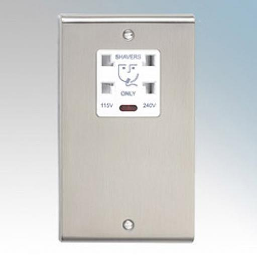 Dual Voltage Shaver Socket with Neon- Stainless Steel/White