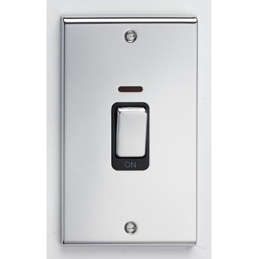 45A DP Tall Switch & Neon - Chrome with Blac