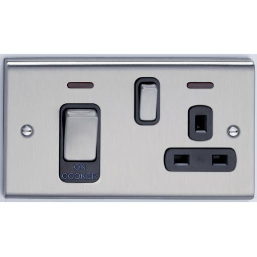 45A Cooker Control Unit & Neon- Stainless St/ Black
