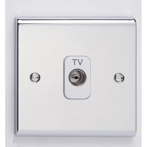 Single Co-Axial Outlet - Isolated- Chrome/White
