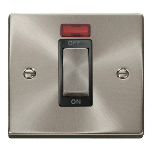 Ingot 1 Gang 45a Dp Switch With Neon - Black