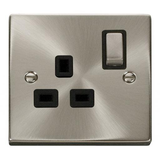 1 Gang 13a Dp 'Ingot' Switched Socket Outlet - Black