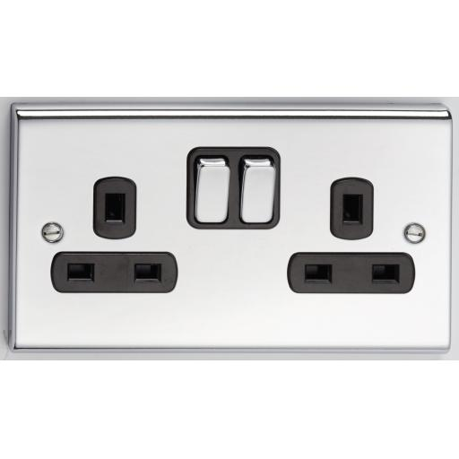 13A 2G DP Switched Socket- Chrome/Black