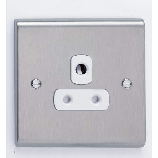 5A 1G Unswitched Socket Stainless Steel/White