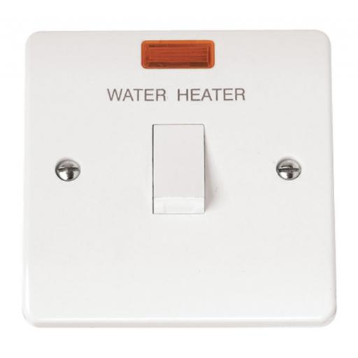 20A DP Switch With Neon 'Water Heater'