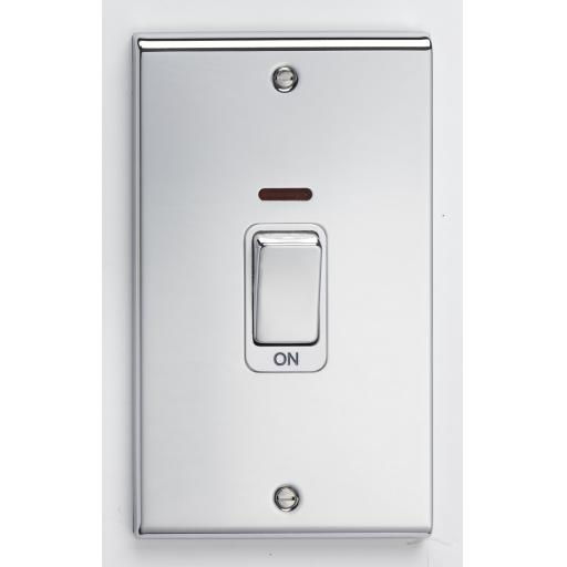 45A DP Tall Switch & Neon - Chrome with Whit