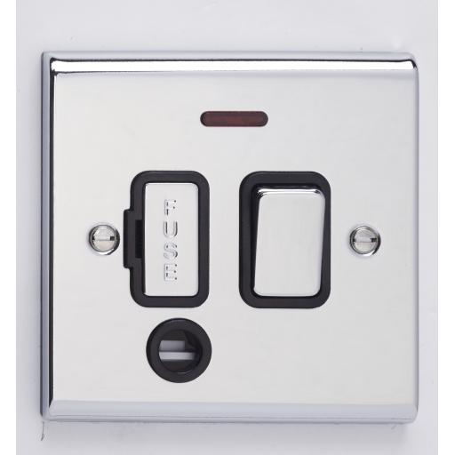 13A DP Switched with Flex Outlet & Neon- Chrome/Black