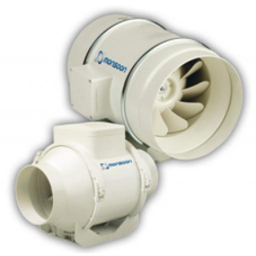 "National Vent Monsoon 4""/100mm In-Line Extractor Fan - Timer"