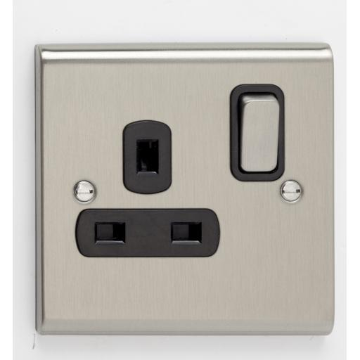 13A 1G DP Switched Socket- Stainless Steel/Black