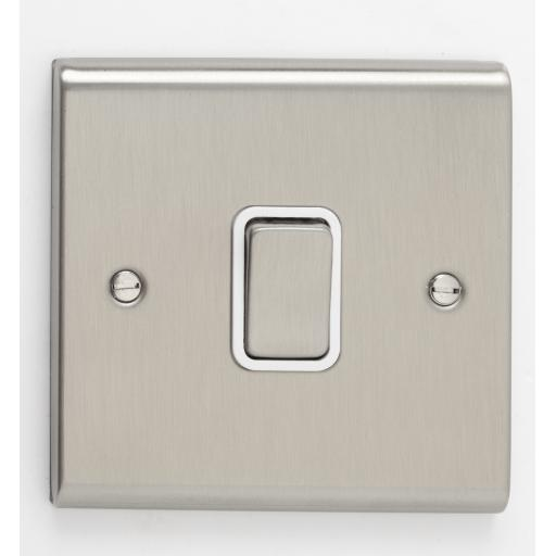10A 1G Intermediate Switch- Stainless Steel/White