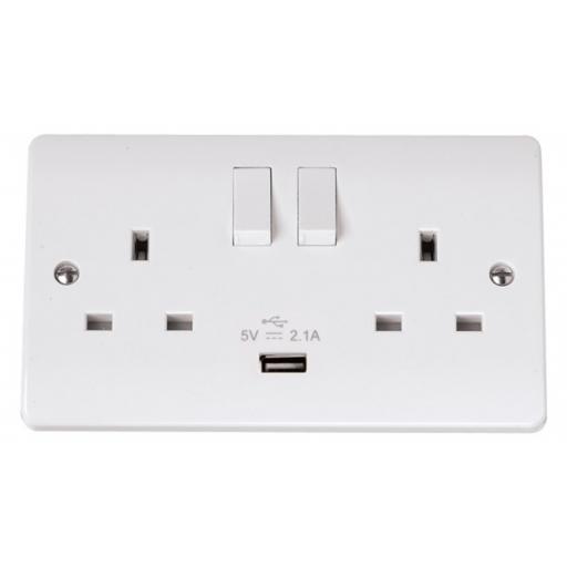 13A 2g Sw Socket w/ 2.1A USB - Mode