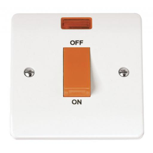45A 1 Gang Single Cooker Switch With Neon
