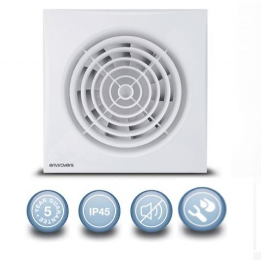 "Envirovent Silent 4""/10mm Extractor Fan - Humidistat & Timer"