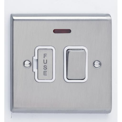 13A DP Switched with Neon- Stainless Steel/White