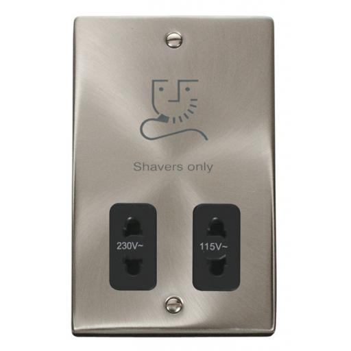 Dual Voltage Shaver Socket Outlet 115/230v - Black