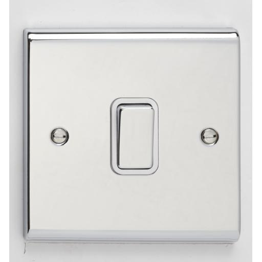 10A 1G 2W Switch- Chrome/White