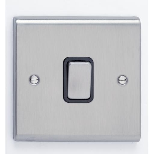 10A 1G Intermediate Switch- Stainless Steel/Black