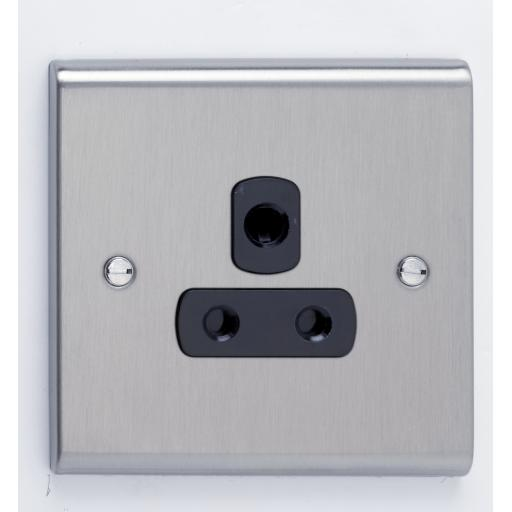 5A 1G Unswitched Socket Stainless Steel/Black