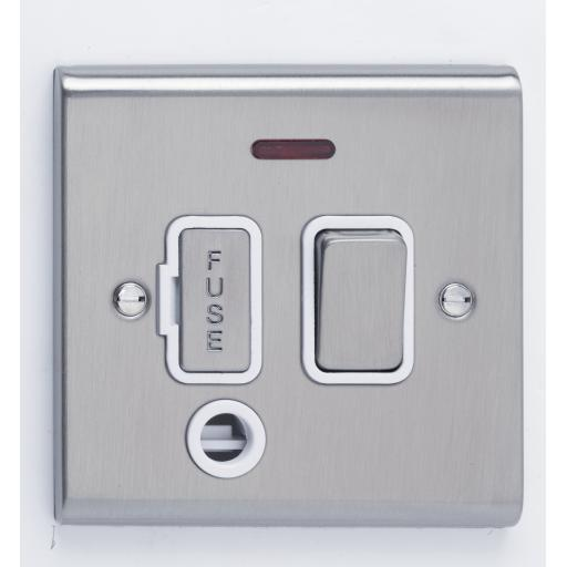 13A DP Switched with Flex Outlet & Neon- Stainless Steel/Whi