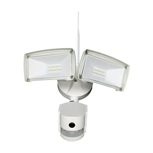 Wifi Outdoor Floodlight with PIR & Security Camera - White