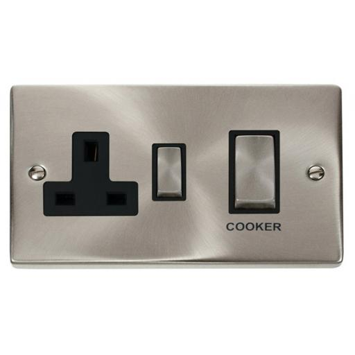 Ingot 45a Dp Switch + 13a Switched Socket - Black