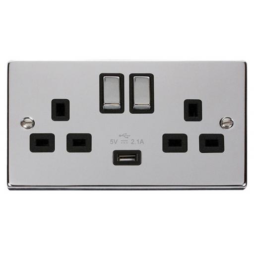 13A 2g Sw Socket W/ 2.1A USB Chrome/Blk Ingot