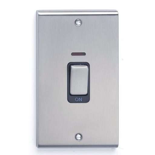 45A DP Tall Switch with Red Rocker & Neon - Stainless Steel/