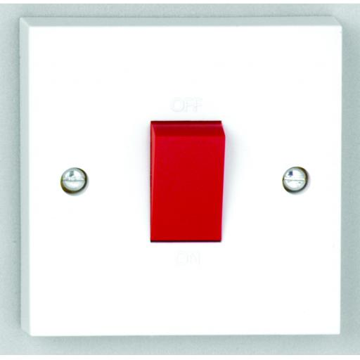50A DP Switch with Red Rocker