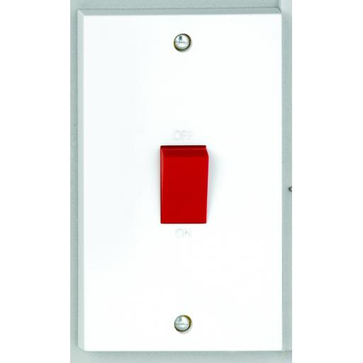 50A DP Tall Switch with Red Rocker