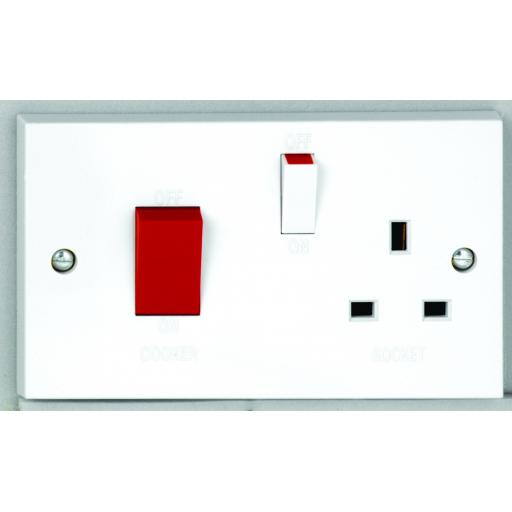 50A Cooker Control Unit with Red Rocker