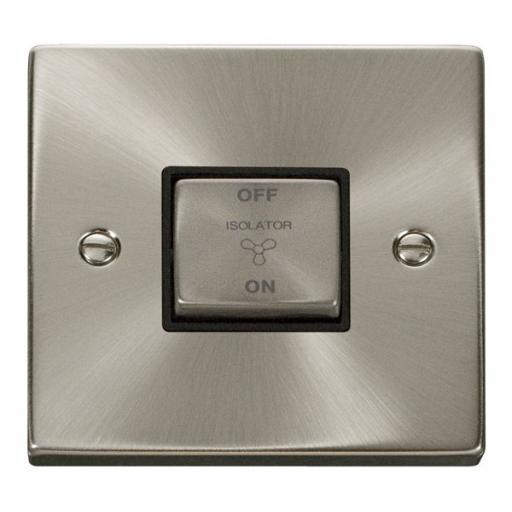 10a 1 Gang 'Ingot' 3 Pole Fan Isolation Switch - Black