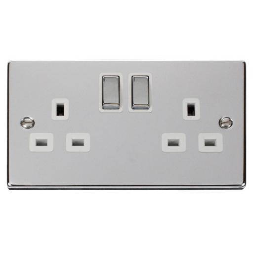 2 Gang 13a Dp 'Ingot' Switched Socket Outlet - White