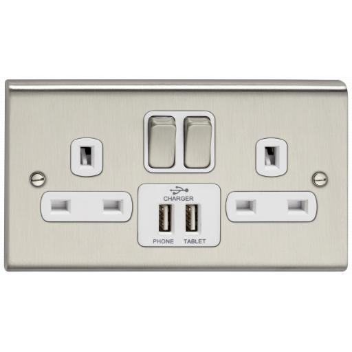 13A 2G DP Switched Socket w/ 2 USB Outlets- Stainless Steel/