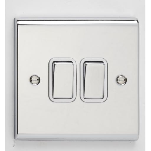 10A 2G 2W Switch- Chrome/White