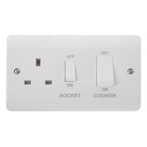 45A Cooker Switch With 13A DP Switched Socket Outlet