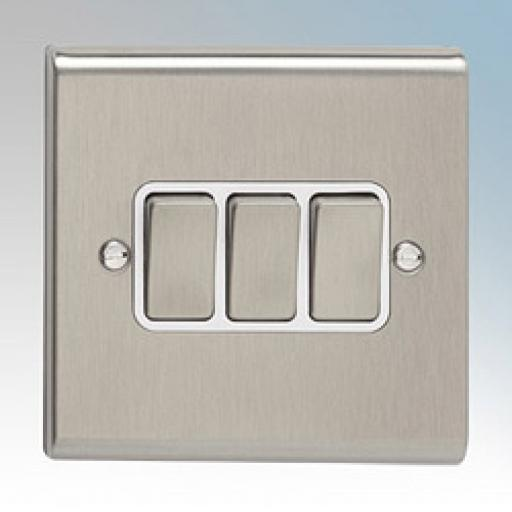 10A 3G 2W Switch- Stainless Steel/White