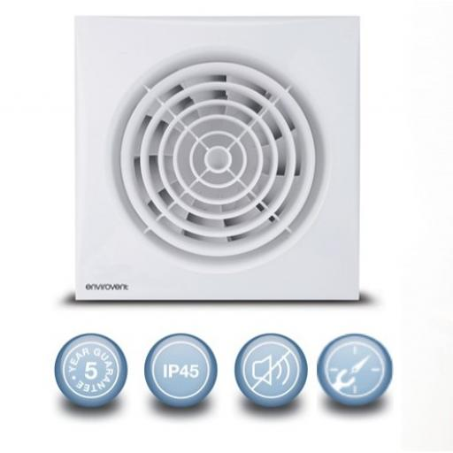 "Envirovent Silent 4""/100mm Extractor Fan - Timer"