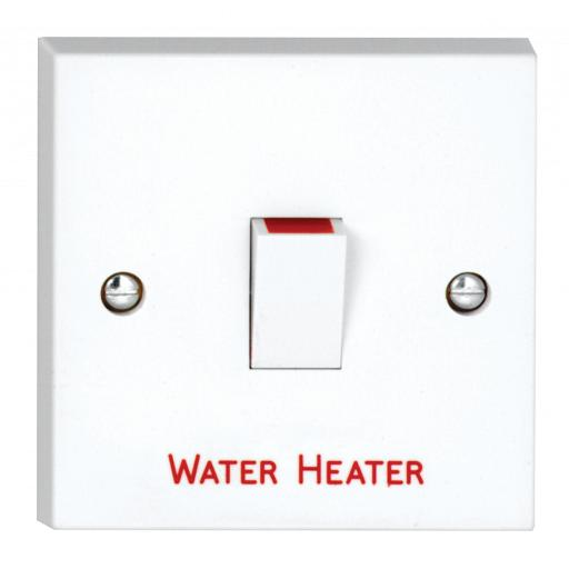 20A DP Switch marked Water Heater