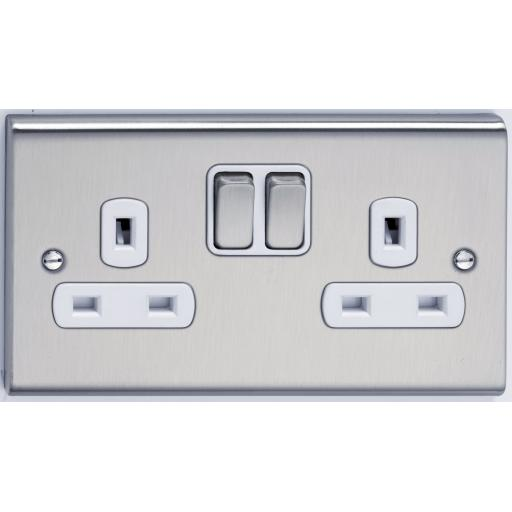 13A 2G DP Switched Socket- Stainless Steel/White