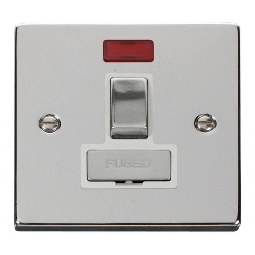 13a Fused 'Ingot' Switched Connection Unit W/Neon - White