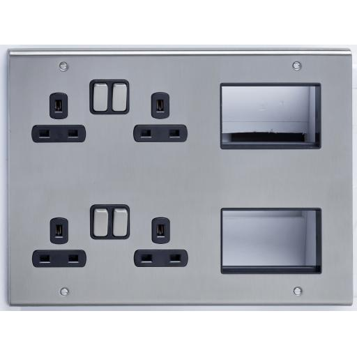 13A 4G Socket & 6 Data Module Outlets Stainless Steel/Black
