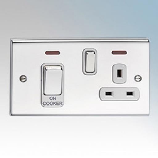 45A Cooker Control Unit & Neon- Chrome/White