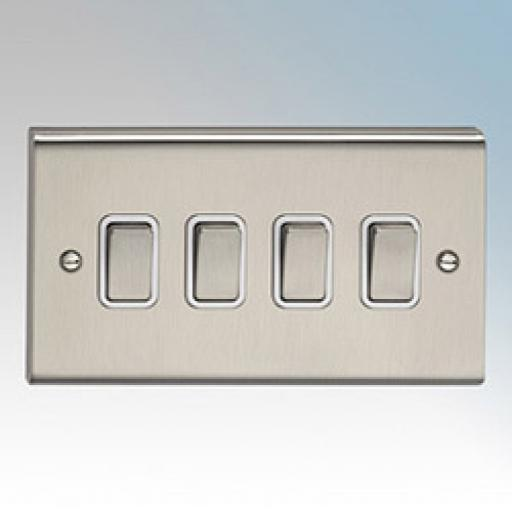 10A 4G 2W Switch- Stainless Steel/White